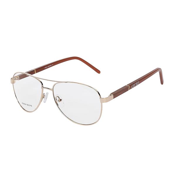 Óculos Otto Dourado, Madeira Marrom
